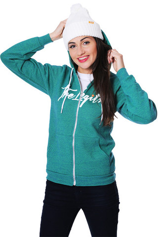 Woman Hoodie - Logo Script (Heather Green)